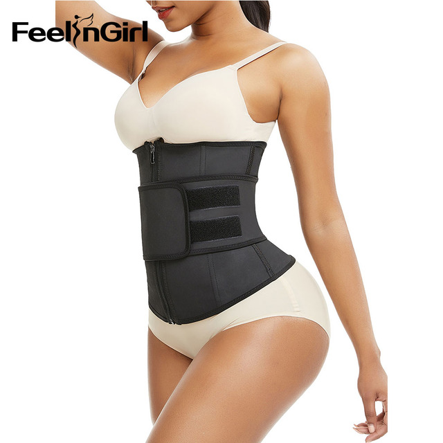 FeelinGirl XS-9XL Abdominal Belt High Compression Zipper Latex Waist Trainer Underbust Body Fajas Sweat Slimming Waist Cincher 2