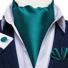 Teal Blue Solid Men Vintage Wedding Formal Cravat Ascot Ties Pocket Square Set Paisley Floral Check Silk Necktie DiBanGu