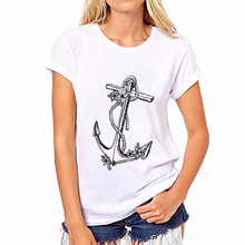 Summer Printed Black Anchor Pattern Round Neck T-shirts Pullover Casual T-shirt Women's T-shirt цены