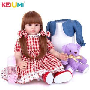 24 Inch KEIUMI Cute Reborn Baby Doll Soft Silicone Newborn Bebe Reborn Slicone Dolls DIY Cosplay Toy For Kids Birthday Gift(China)