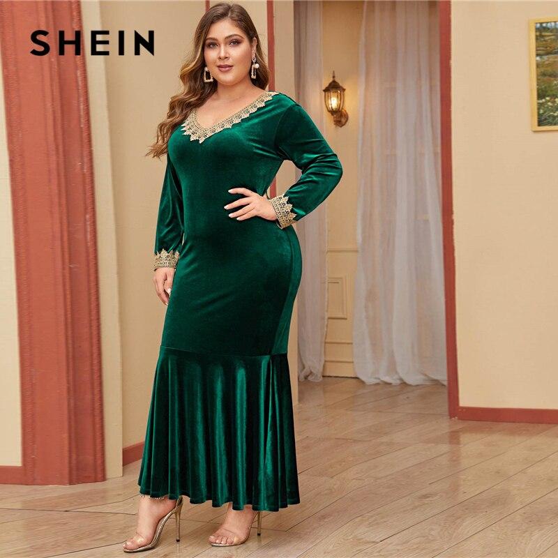 SHEIN Plus Size Lace Trim Fishtail Hem Bodycon Velvet Dress Women Autumn Long Sleeve Party Glamorous Bodycon Maxi Dresses 2
