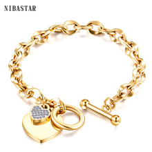 escalus new silver color magnetic stainless steel bracelet for women pure clear branded crystal bracelets bangle wristband charm Love Heart Charm Bracelets For Women Gold Silver Color Stainless steel Bracelet&Bangle Jewelry Europe American Style Jewelry