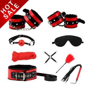 Image 1 - Muti typy Sex zabawki fetysz BDSM Bondage Sex Restraint Kit gry akcesoria erotyczne pary koronkowa maska kołnierz knebel kajdanki