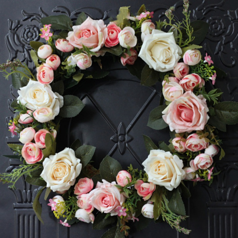 Front Door Artificial Rose Flower Wreath Wedding Fake Floral Rattan Garland With Green Leaves For Window Wall Home Decoration