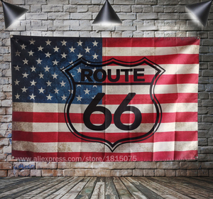 Route 66 Motorcycle Biker Rider Retro USA Flag Banner Art Home Decoration Hanging flag 4 Gromments in Corners 3*5FT 144cm*96cm