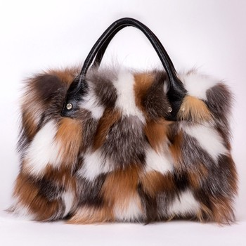 2020 Women Leather Real Fox Fur Shoulder Bag Totes Handbag Brand Party Bag Women Ladies Hand Bags Luxury Designer Evening Bag image