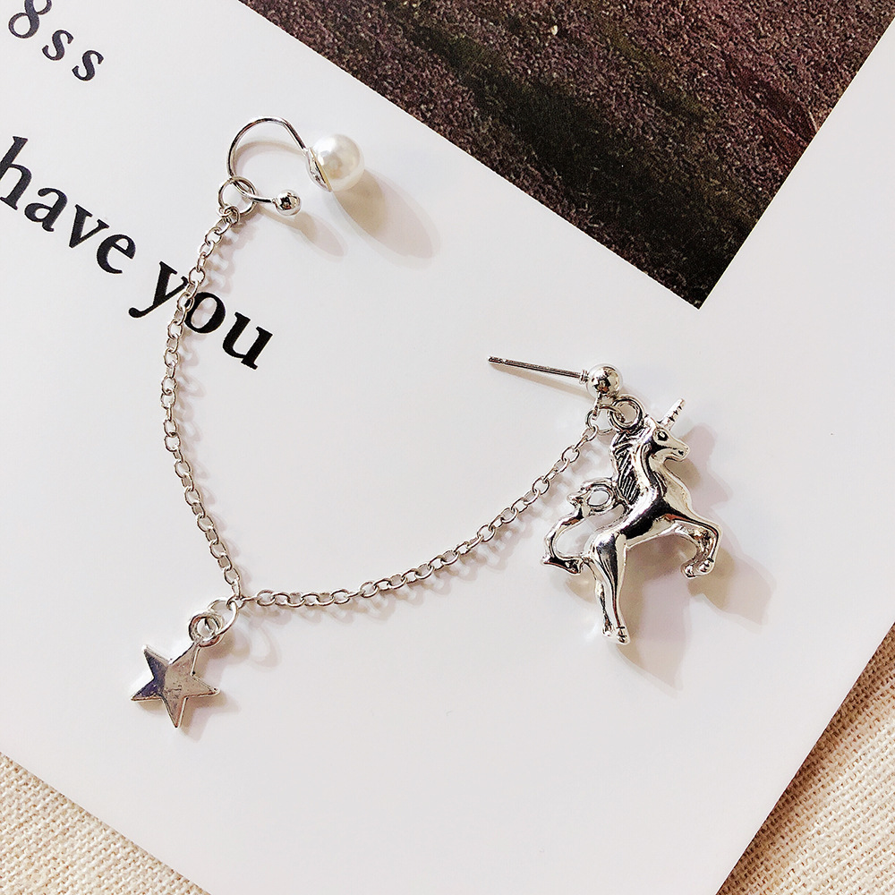1PC Silver Star Unicorn Earrings Japanese Girls Chain Pendant Earrings in Drop Earrings from Jewelry Accessories