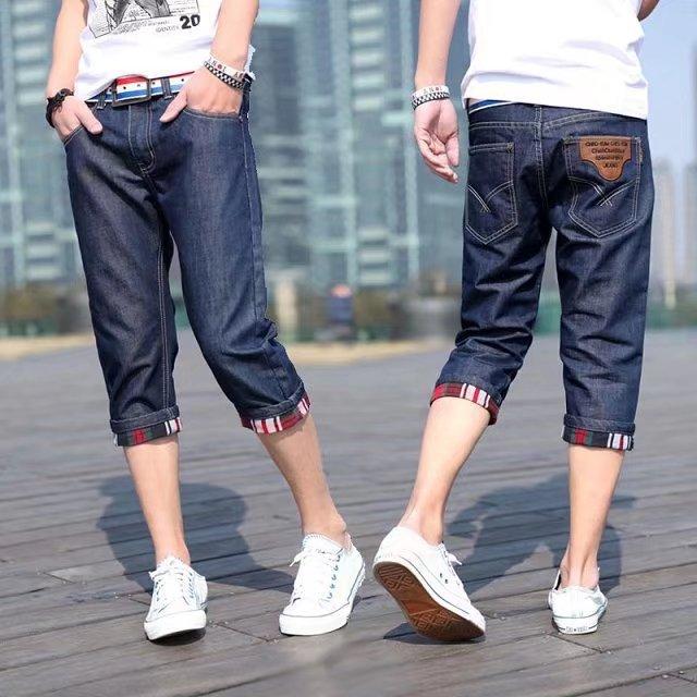 Summer Men's Loose Casual Simple Capri Jeans Trend Shorts INS Teenager Pants