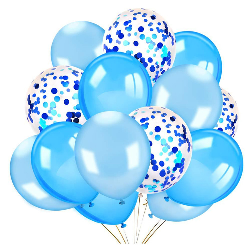 12inch Confetti Balloons White Blue Latex Ballon Wedding Baby Shower Birthday Party Decoration Kids Toys Air Globos