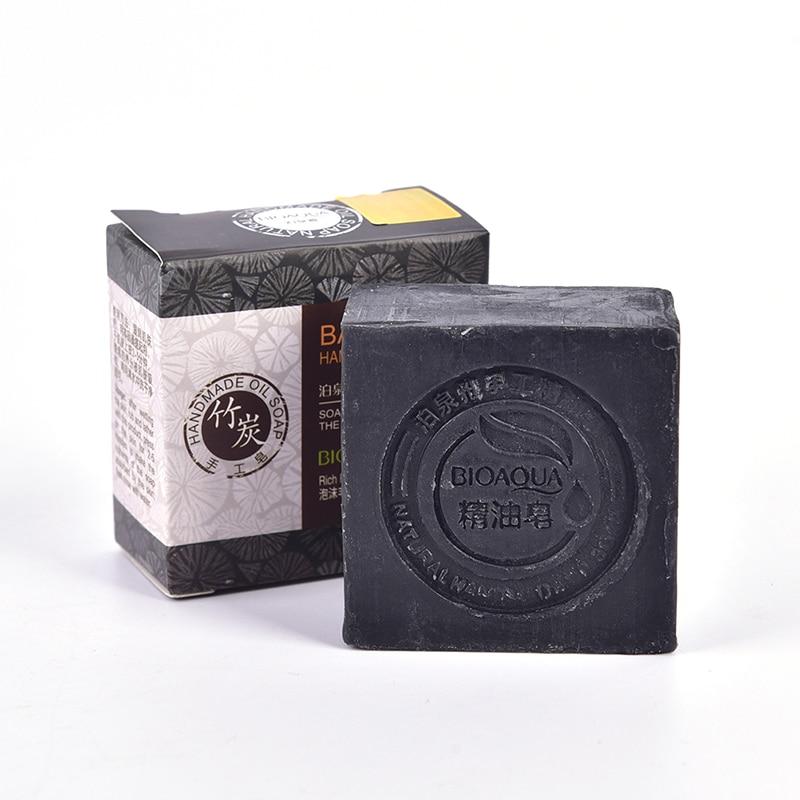 Черное натуральное бамбуковое масло, мыло, органическое травяное Эфирное Отбеливающее мыло ручной работы для удаления прыщей на коже глубокое очищение лица, уход за волосами