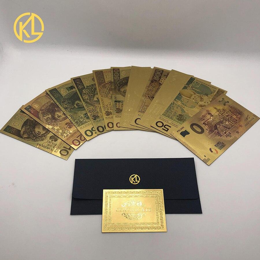 Colorido 24K Da Folha de Ouro de Ouro Dinheiro Notas de Folha de Ouro Polonês Set10 20 50 100 200 500 PLN para partriotism artesanato coleção