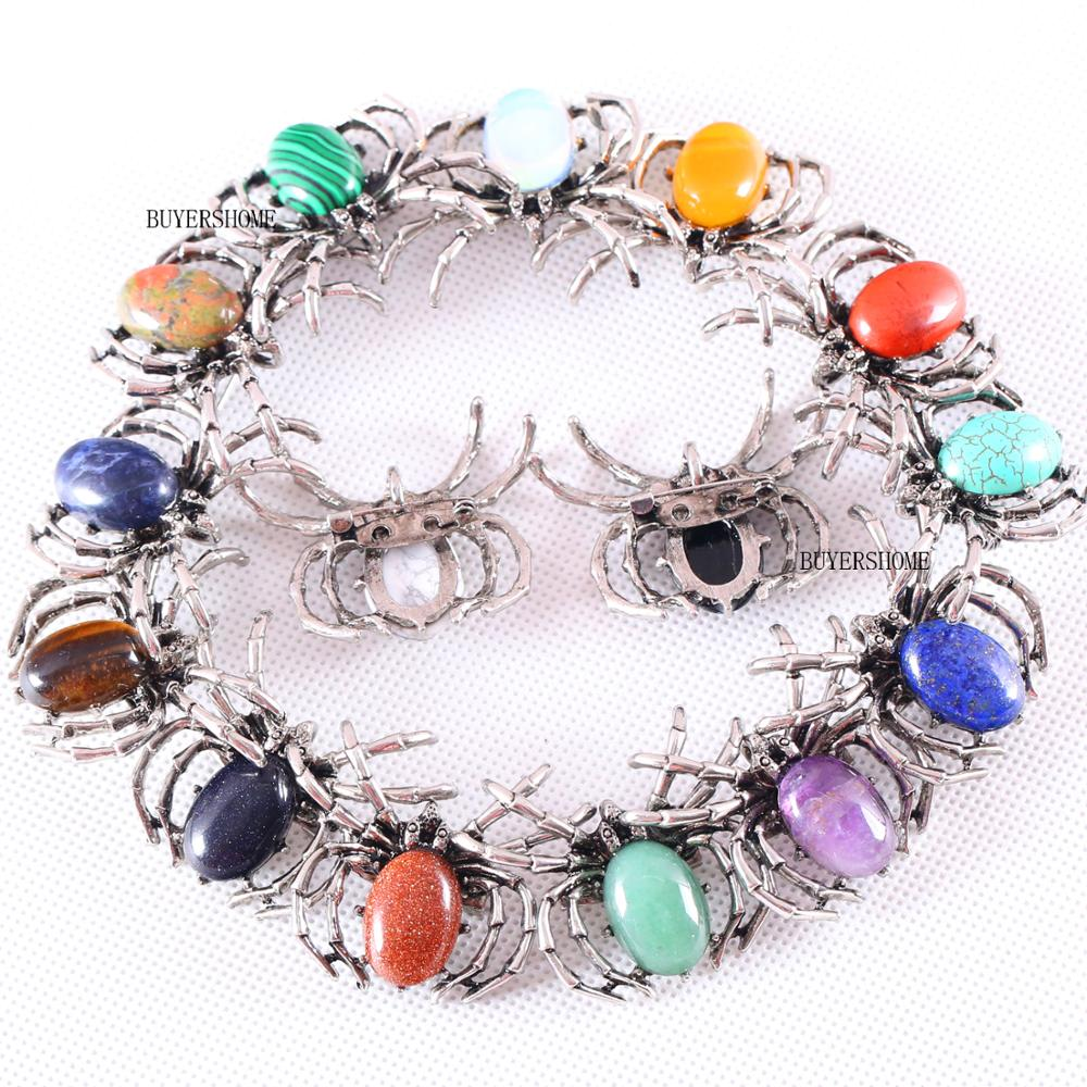 10 pièces broche araignée en argent naturel Multi couleur pierres pendentif perles pour hommes femmes bijoux cadeau K700