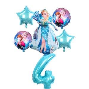 Image 4 - 6 stuks Verjaardag Elsa Anna Prinses Ballonnen Verjaardagsfeestje Decoratie 32 Inch Nummer blauw Ballonnen Set Hoge Kwaliteit