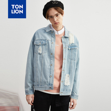 TONLION Light Blue Men Jean Jacket Long Sleeve Spring Denim Jacket Hollow Out Male Coats Collage Style Turn Down Collar 2020 New