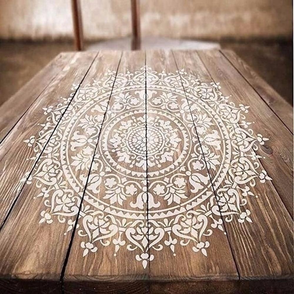 8 pièces grande taille réutilisable pochoir Laser coupe peinture modèle sol  mur carrelage tissu meubles pochoirs Mandala peinture pochoirs