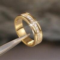 Anillos de dedo geométricos de circonita de cristal exquisito para mujer, sortija de boda de Color dorado y plateado, regalo de joyería de aniversario