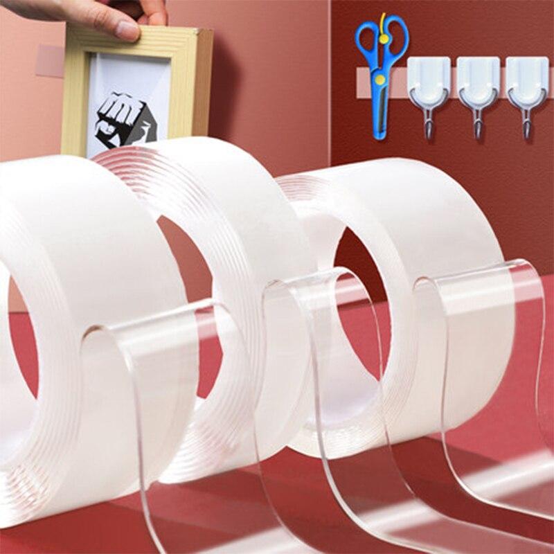 1m/3m/5m Double face lavable réutilisation Nano Magica bande forte Scotch Transparent Super étanche auto-adhésif clair autocollants