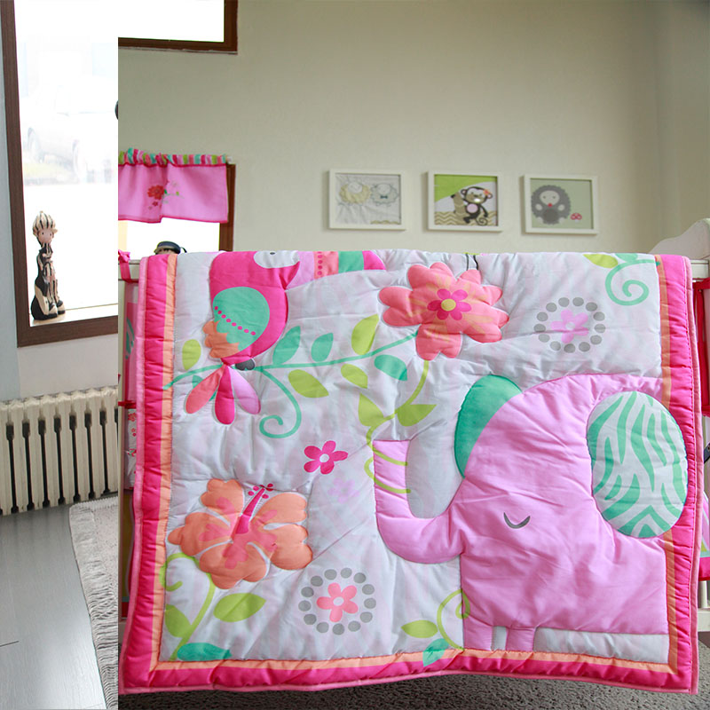 Cotton Girl Crib Bedding Set Crib Mattress Cover Bed Prtector Pink Quilt Baby Items For Newborns Baby Bed Bumper Four Seasons