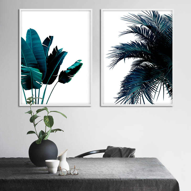 الأزرق الموز أوراق شجرة النخيل مجردة المشارك النباتية قماش طباعة الشمال نمط اللوحة الإبداعية صورة ديكور المنزل الحديث
