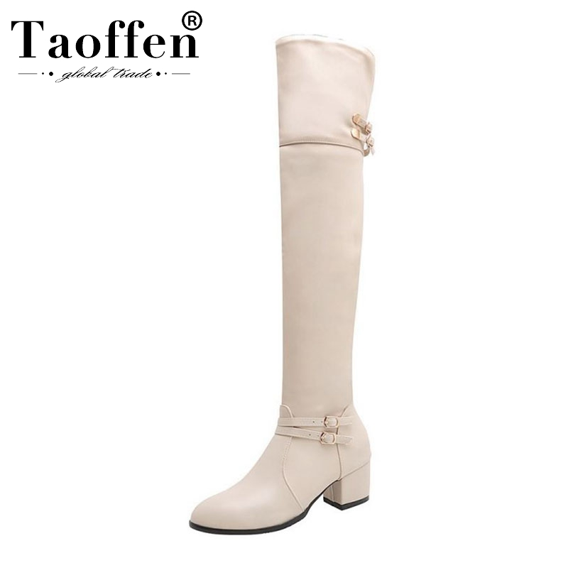 Taoffen Ladies Plus Size 32-48 Sexy Over The Knee Boots Buckle Zipper Winter Shoes Woman Chunky Heel Casual Work Botas Footwear