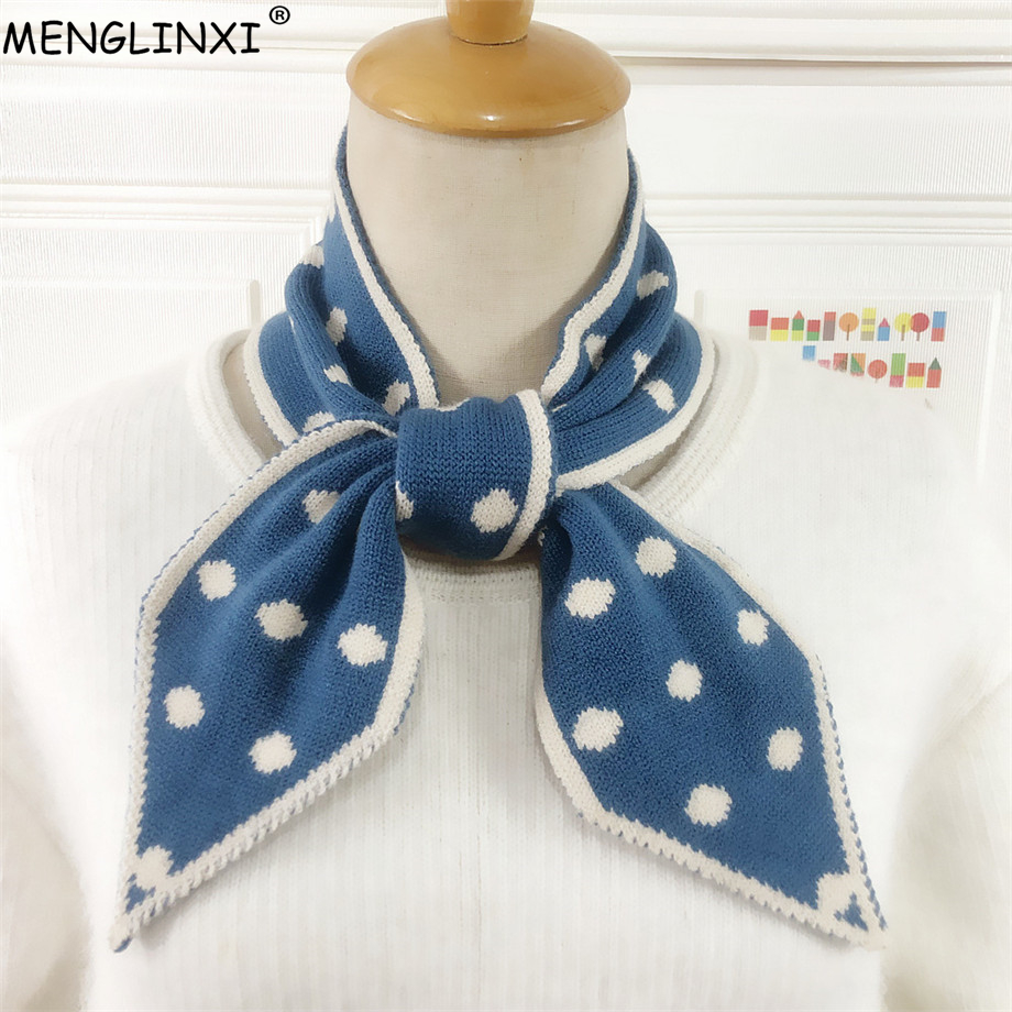 Small Dot Winter Scarf Brand Knitted Scarf Sharp Angle Women Scarf Long Skinny Small Scarf Female Neckerchief Scarves Wraps