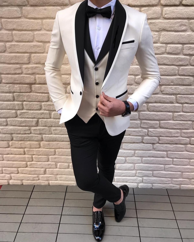 White Men's Suit Casual 3-Pieces Shawl Lapel Solid Prom Tuxedos Wedding Groomsmen (Blazer+vest+Pants)2020 New Slim Fit Suits