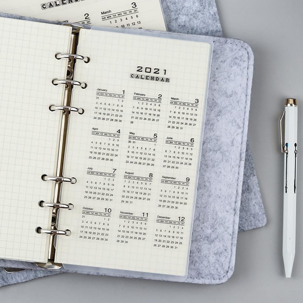 2021 Calendar PP Divider 6 Holes A5 A6 Loose Leaf Notebook Planner Planner Binder Inner Sheet Filofax Category Index Clip G8A3