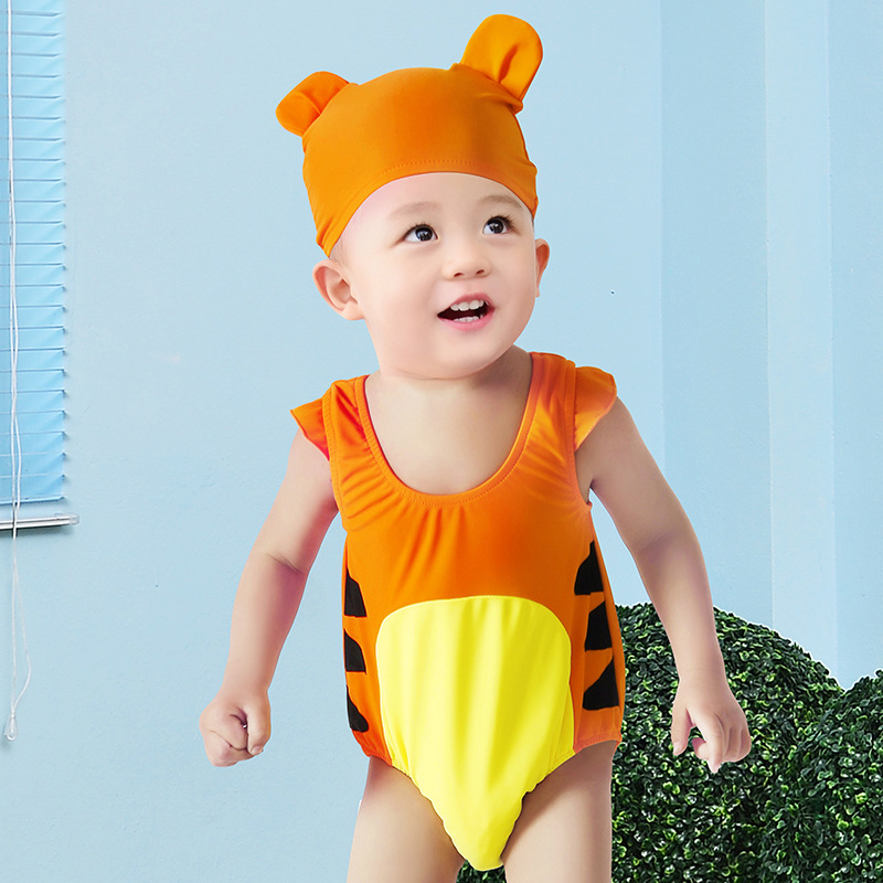 KID'S Swimwear BOY'S One-piece Swimming Trunks Set Infant Baby Cartoon Cute Quick-Dry Hot Springs Baby Swimsuit