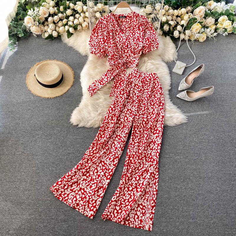 SINGREINY Frauen Sommer Boho Floral Urlaub Set V Neck Puff Sleeve Short Tops + Hohe Taille Sexy Split Breite Bein hosen Zwei Stücke Set