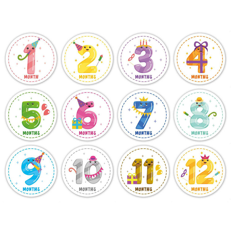 New 12 Pcs/Set Month Card Baby Monthly Newborn Milestone Photos Funny Cartoon Photography Photo Cards Stickers Baby Growth Album