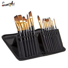 15Pcs Wooded Hold Nylon Painting Brushes Set for Artist Watercolor Painting Acrylic Oil Drawing Paint Brush Art Supplies недорого
