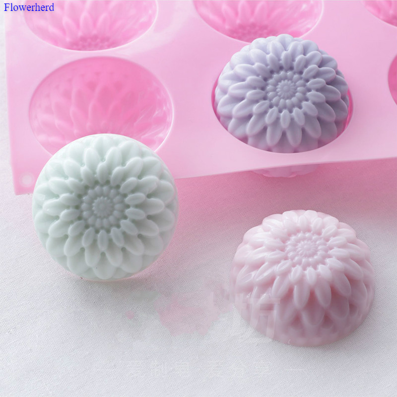 6 Cavities Chrysanthemum Shape Silicone Mold Soap Forms DIY Handmade Flexible Silicone Soap Mold Soap Making Supplies Cake Decor