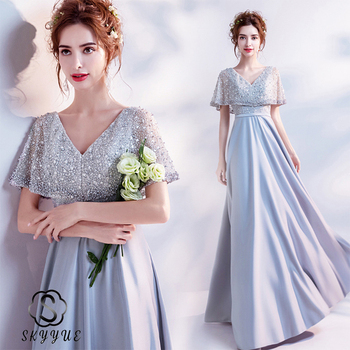 Skyyue Beading Women Party Dress FR444 V-Neck Short Sleeve Evening Dresses Patchwork A-Line Vestido De Fiesta Zipper Formal Gown