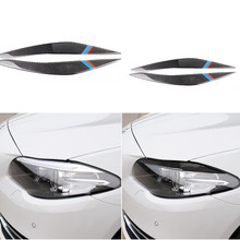 פחמן סיבי פנסי הגנת רכב אור גבות לקצץ מדבקה עבור BMW F10 5 סדרת 2010 2016 רכב קדמי פנס אבזרים