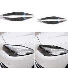 Fari in Fibra di carbonio di Protezione Auto Luce Sopracciglio Trim Sticker per BMW F10 5 Serie 2010 2016 Auto Del Faro Anteriore accessori