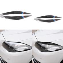 탄소 섬유 헤드 라이트 보호 자동차 라이트 눈썹 트림 스티커 bmw f10 5 시리즈 2010 2016 자동차 앞 전조등 액세서리