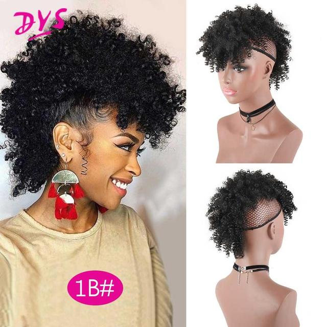 Deyngs Synthetic Mohawk Hair High Puff Ponytail With Bangs Afro Short Kinky Curly Ponytail Clips in Hair Extension