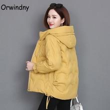 Orwindny-Chaqueta de Invierno para mujer, Parkas cortas y cálidas para mujer, abrigo grueso, chaqueta acolchada de algodón con capucha de talla grande 3XL