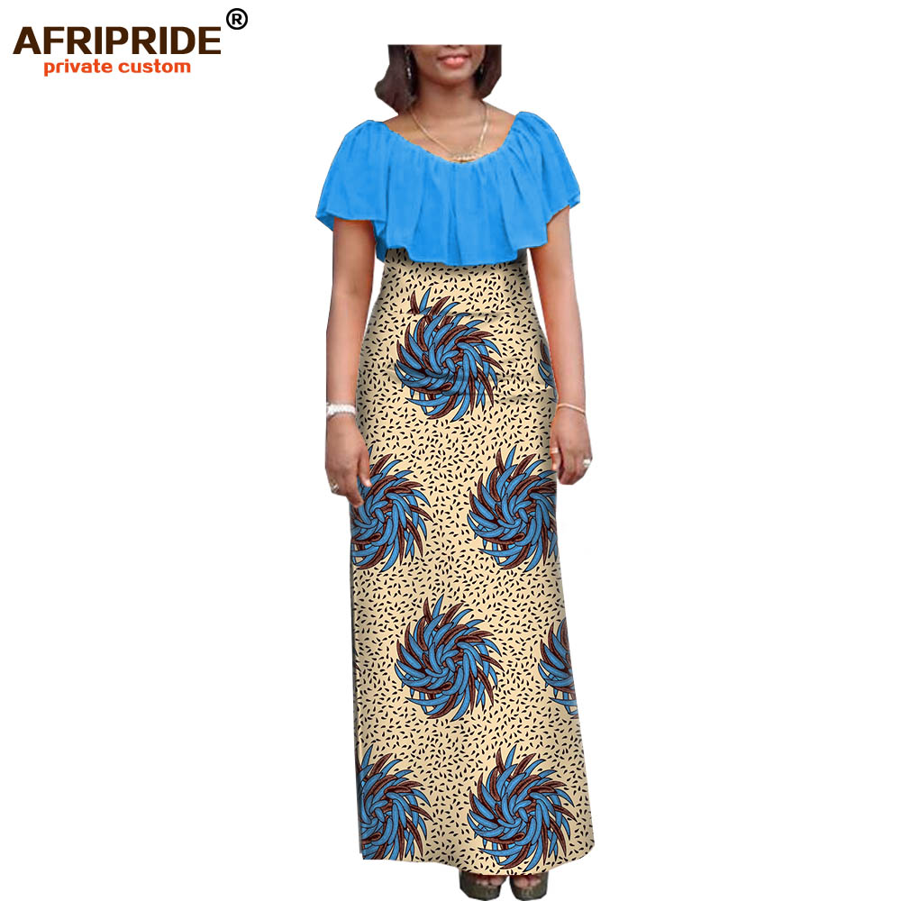 19 autumn women dress african clothing AFRIPRIDE short sleeve ankle length women casual straight dress 100
