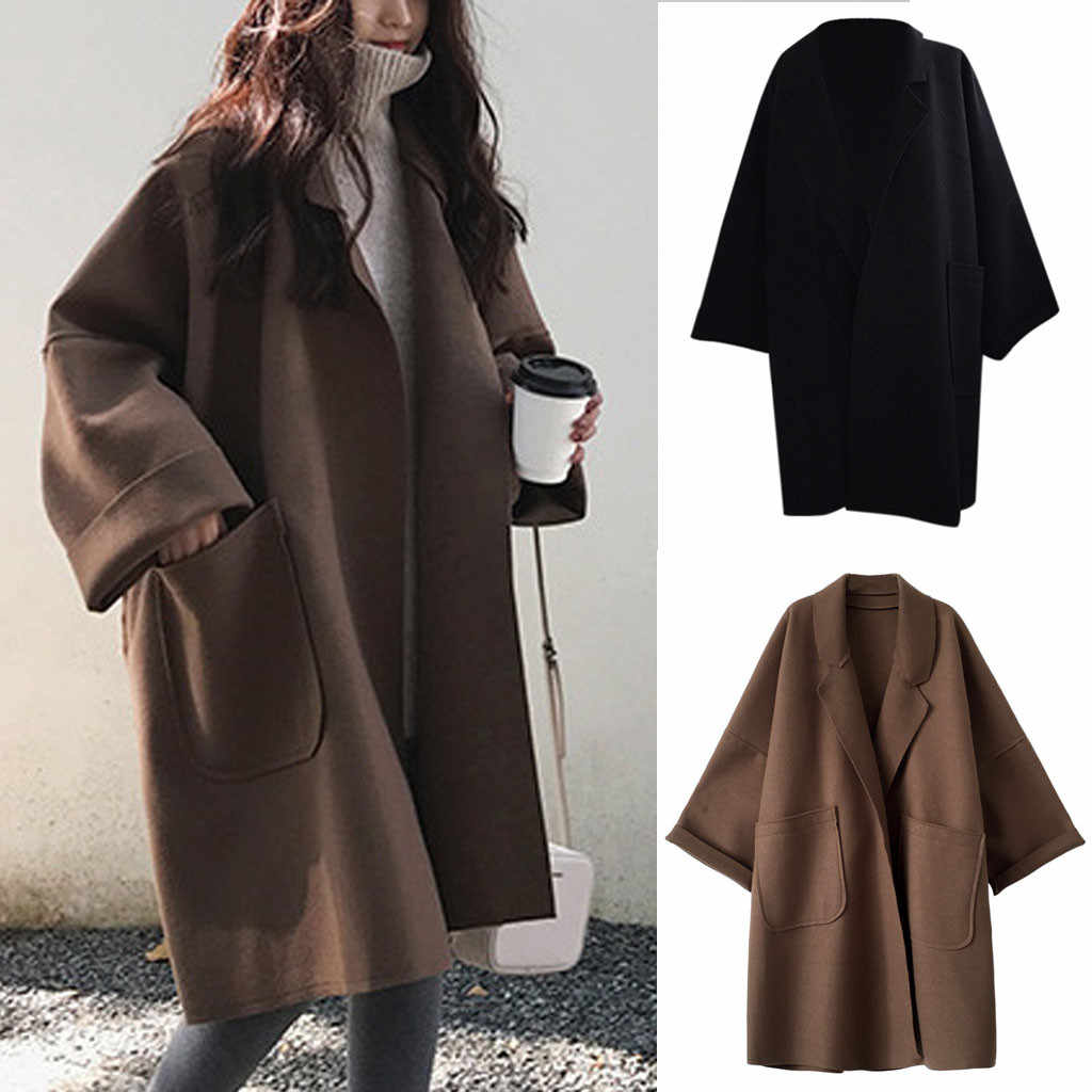 Mode Vrouwen Pocket Lange Mouwen Vest Casual Wol Blends Losse Tops Trenchcoat Winter Korea Stijl Lange Effen Losse Jas