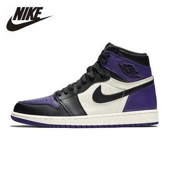 Yeni Nike Air Jordan 1Retro Yüksek Mahkeme Mor Basketbol Ayakkabıları Erkekler Kadınlar Unisex Orijinal Açık Ayakkabı 555088-501