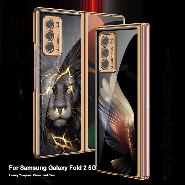 Custodia GKK per Samsung Galaxy Z Fold 2 custodia 5G custodia protettiva antiurto in vetro placcato di lusso per Samsung Galaxy Z Fold 2