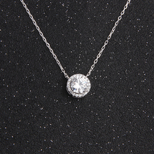 BOEYCJR  925 Silver 0.5/1ct F color Moissanite VVS Engagement Wedding Pendant Necklace for Women Anniversary Gift