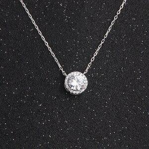 Image 1 - BOEYCJR 925 srebrny 0.5/1/1. 2/2ct F kolor Moissanite VVS zaręczynowy ślubny naszyjnik naszyjnik dla kobiet prezent na rocznicę