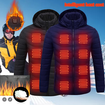 Puimentiua Mens Women Heated Outdoor Parka Coat USB Electric Battery Heating Hooded Jackets Warm Winter Thermal Jacket Dropship