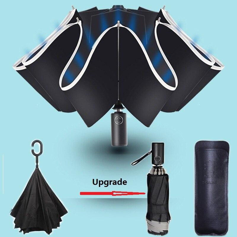 Réfléchissant grand Parapluie Inverse Parapluie pour voiture affaires pliable Parapluie pluie hommes femmes automatique Inverse parapluies fort