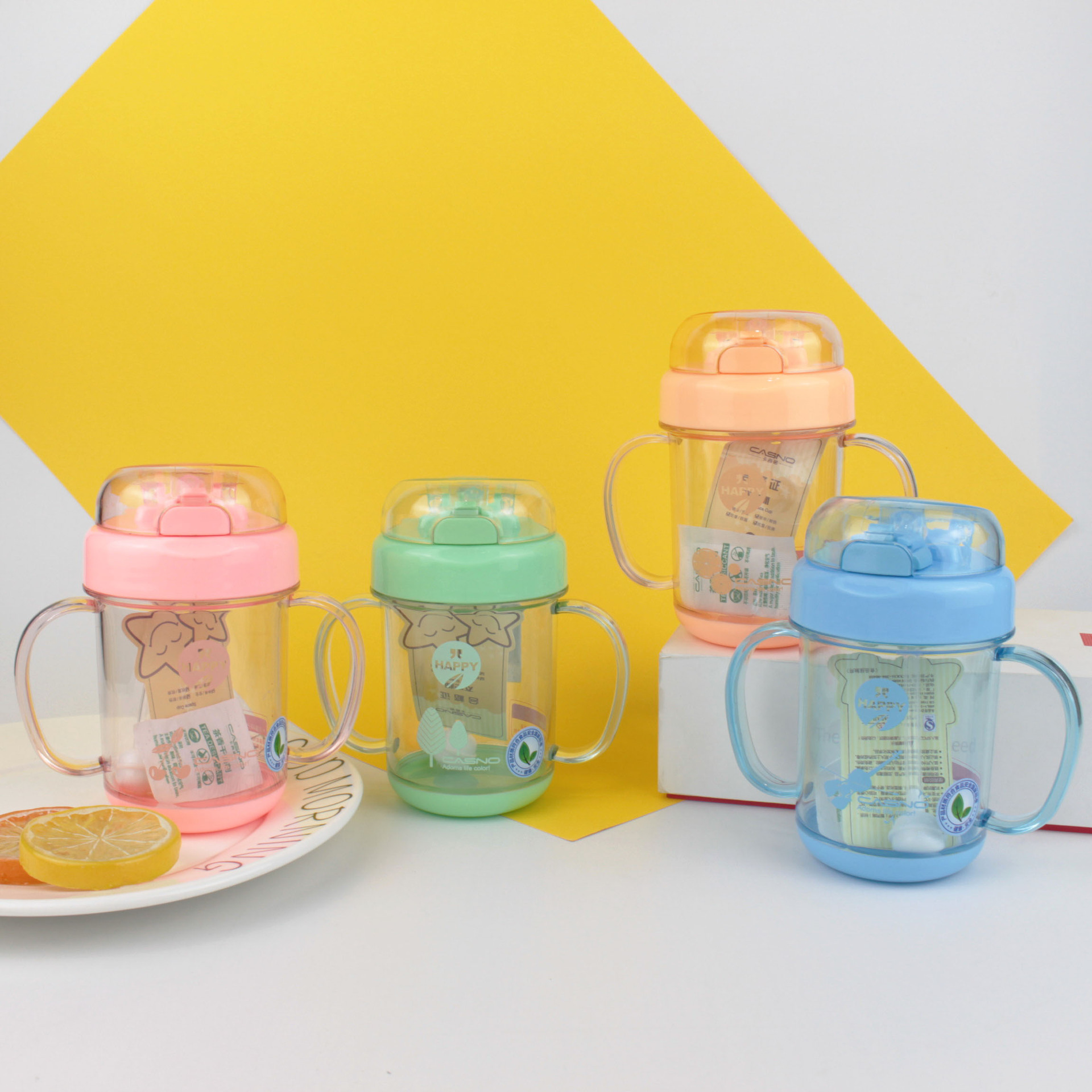 2019-290 Ml Children Cup With Straw With Handle Gravity Ball Measuring PC Portable Leak-Proof Anti-Fall Cartoon Cup With Straw