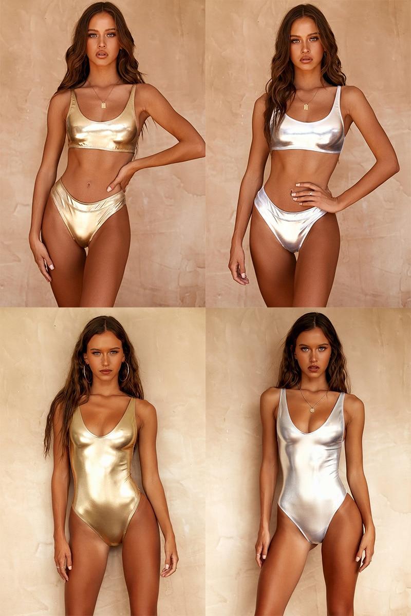 New Hot Gold Bright Women's One-piece Swimsuit Sexy Bandage Push Up Monokini Swimwear Fashion Beachwear -8