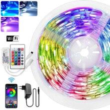 5m 10m 15m RGBW RGBWW RGB LED lumière de bande 5050 SMD 2835 Luces Led lumière de chaîne DC12V ruban Flexible WiFi Contol + adaptateur prise