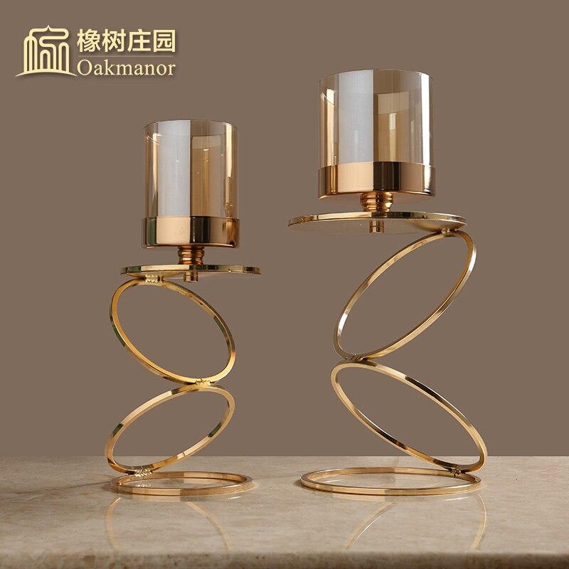 Nordique romantique porte-bougie doré géométrique chandelier Soporte Vela créatif romantique chandelier décoration FF8C4